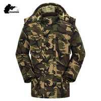 Nuevo Mens camuflaje Parkas invierno militar con capucha espesar Fleece ejército acolchado de algodón de la ropa de los hombres a prueba de viento largo abrigo CY05
