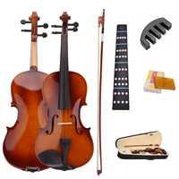 4/4 violon acoustique naturel violon violon Violino avec étui arc colophane muet autocollants pour débutants 6 pièces/ensemble violon ensembles