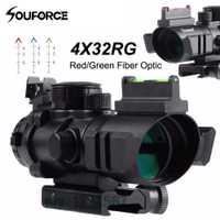 2 estilo 4x32 RGB retícula Tri-iluminado compacto alcance rojo/verde de fibra óptica vista grabado de vidrio táctico visores