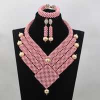 Maravillosa Rosa nupcial collar babero declaración conjunto de moda de oro rosa nupcial joyería conjunto nuevo envío libre WD635