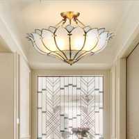L cobre semi-candelabro europeo sala de estar iluminación romántica cálida habitación restaurante americano semi-techo cobre lámpara