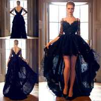 Negro medio mangas largas alto bajo Prom vestidos espagueti correas encaje Formal vestido de fiesta tirantes espagueti vestidos de noche personalizados hechos