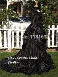 Custom Made mina Drácula Victorian bustle gown negro color precio más bajo versión período vestido