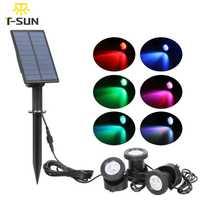 T-SUNRISE luz Solar 3 luces iluminación exterior luz Solar cambio de Color RGB LED lámpara paisaje proyector para jardín