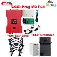 CGDI Prog MB para Benz admite todas las llaves perdidas más rápido añadir llave con adaptador ELV y simulador y adaptador de CA y EIS ELV Original CGDI para Benz