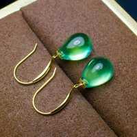 18 K oro mosaico pura Prehnite natural gota Boutique cristal Prehnite pureza y 18 K oro prehnite colgantes.