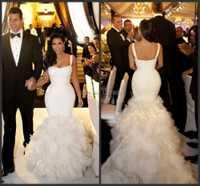 Vestido De novia plisado De encaje De sirena con tirantes finos Kim Kardashian con diseño superior personalizado
