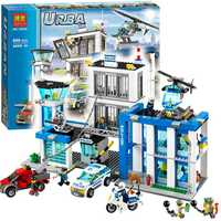 Bela 10424 Station de Police de la ville moto hélicoptère modèle briques de construction Kits compatibles avec Legoe City 60047