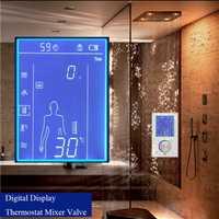 JMKWS LCD mezclador de ducha inteligente válvula termostática grifo pantalla Digital Panel de ducha Control de pantalla táctil Sistema de ducha en la pared