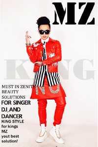 Puede ser personalizado! Hombres DJ discoteca cantante invitados 2 PM jun. K gran diamante rojo decorativo chaqueta más trajes de tamaño ropa