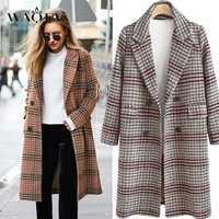 WAQIA abrigo de lana a cuadros de mujeres abrigo largo de manga larga de lana abrigo suelto prendas mujer Otoño Invierno abrigos Plus tamaño 4XL