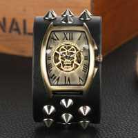 Reloj de pulsera mecánico automático de estilo Punk, Reloj de pulsera para Hombre, Reloj mecánico con esfera de calavera elíptica, Reloj mecánico para Hombre