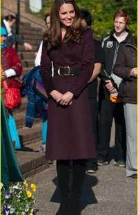 Kate Middleton princesa lana capa de la manera caliente del invierno largo rojo vino lana mezclas escudo