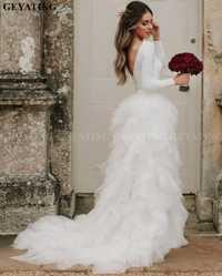 Rústico blanco de manga larga país vestido de novia 2019 Vintage sin espalda Ruffle Tiered Tulle Boho Beach vestidos de novia