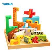 Rompecabezas de madera 3D juguetes de madera para niños dibujos animados animales rompecabezas inteligencia niños juguete educativo