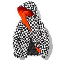 De los hombres de moda negro globo chaqueta de invierno cálido luz prendas Abrigo acolchado gruesos Abrigo con capucha de hombre joven blanco de gran tamaño