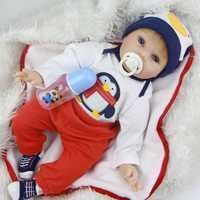 Realista 22''Big boca Reborn bebé muñecas suave silicona muñeca bebé recién nacido vestido historieta paño pingüino baño Playmate de los cabritos caliente