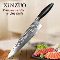 XINZUO 10 pulgadas Pro cuchillo cocinero japonés 10Cr15CoMoV núcleo cuchillos de cocina Damasco acero 60 HRC Sashimi cuchillo G10 mango