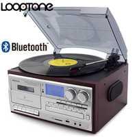 Lecteur de disque vinyle Bluetooth 3 vitesses LoopTone lecteur CD et Cassette Vintage lecteur AM/FM Radio enregistreur USB sortie de ligne RCA Aux-in