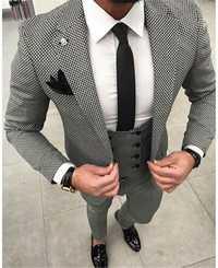 Houndstooth Custom Made Mens Traje a cuadros vestidos a medida negro tejido Hounds diente comprobar boda hombres trajes chaqueta + Pantalones + chaleco