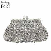 Boîte cadeau en métal Minaudiere embrayage argent soirée cristal sacs à main femmes Socialite fête sac de bal embrayages de mariée sac à main de mariage