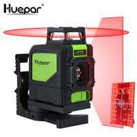 Huepar 5 líneas 3D línea transversal láser nivel rojo haz Vertical Horizontal Lasers 360 rotatorio autonivelación profesional herramienta de nivelación