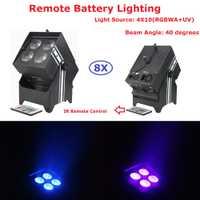 Envío libre 8IN1 charging flightcase con ruedas 4x10 W RGBWA-UV 6 color batería inalámbrica led par luces con control remoto ir