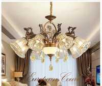 Recién candelabros de latón Color europea de iluminación de Cristal Vintage Cristal retro lámparas colgantes comedor luz de la lámpara