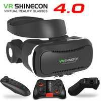 VR Shinecon 4,0 estéreo Realidad Virtual de realidad Virtual Smartphone 3D vasos auriculares gafas caja de Google + auriculares/botón de Control para 3,5- 5,5 móvil