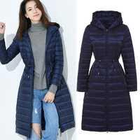 2018 nuevo estilo chaqueta de invierno abrigo mujeres delgado con capucha medio tiempo pato abajo abrigo mujer sólida damas Parkas