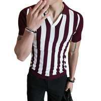 Punto Polo Shirt hombres 2018 verano patrón camisa a rayas hombres Rojo Negro gris de la raya Vertical camisa de Polo hombres Slim Fit elegante Polo