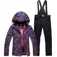 Más barato mujer traje de esquí establece snowboard ropa impermeable a prueba de viento a prueba de nieve de invierno trajes chaquetas + Baberos pantalones traje de esquí caliente