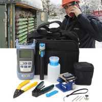 12 unids/set de fibra óptica FTTH Kit de herramientas para FC-6S de fibra Cleaver y medidor de potencia óptica 5 km Localizador Visual de fallos alambre de stripper
