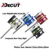 ID28MM/30mm Rainbow-F2 alcance 4x/6x/8x magnificación arco compuesto vista fibra óptica 1 Pin lente tiro con arco caza de aluminio
