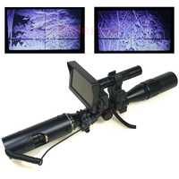 Mejor francotirador caza al aire libre óptica táctico Riflescope de infrarrojos linterna con LCD de visión nocturna para el alcance