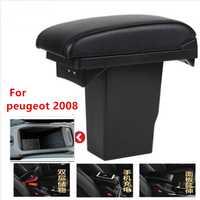Para Peugeot 2008 caja de reposabrazos + 3USB negro cuero Centro nueva modificación de la caja de almacenamiento