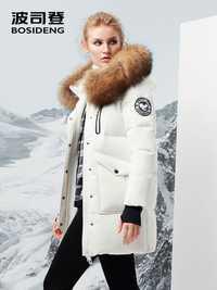 BOSIDNEG nuevas mujeres duro profundo de invierno gruesa abrigo largo de ganso gruesa parka grande natural collar de piel-30 b70142012