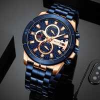 CURREN Reloj de pulsera de acero inoxidable de marca de lujo de hombre de negocios reloj de pulsera cronógrafo militar de cuarzo relojes de reloj Masculino