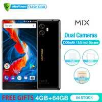 Ulefone mezcla 13MP teléfono móvil de doble cámara de 5,5 pulgadas MTK6750T Octa Core Android 7,0 4 GB + 64 GB de huellas dactilares 4G Smartphone