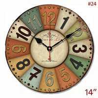 Estilo antiguo hierro acentos sola cara 14 pulgadas círculo decoración del hogar Reloj de pared de MDF