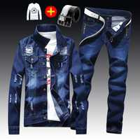 Printemps automne hommes coupe ajustée Denim veste pantalon à manches longues manteau décontracté 2 pièces ensemble boutons avant S2