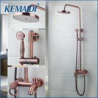 Kemaidi Bañeras ducha grifo Bañeras grifo mezclador con ducha de mano cabeza Rosa oro grifo de la ducha montado en la pared latón