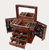 Caja de joyería con cerradura de madera real princesa Europea retro multifuncional caja de colección Caja de regalo de boda caja de almacenamiento organizador