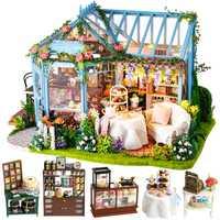 CUTEBEE bricolage maison de poupée en bois maisons de poupée Miniature maison de poupée meubles Kit Casa musique Led jouets pour enfants cadeau d'anniversaire M21