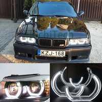 De cristal blanco de estilo DTM LED Halo Ojos de Ángel anillos kits de luz para 1996-2000 E36 BMW Serie 3 Coupe y cabriolet estilo de coche