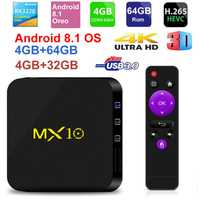 MX10 caja de TV inteligente Android 8,1 Rockchip RK3328 DDR 4 GB Ram 64 GB Rom IPTV Smart Set-top box 4 K USB 3,0 HDR H.265 Media Player Box
