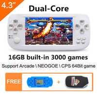 4,3 pulgadas dual core 16 GB 64Bit PAP K3 construir en 3000 juego de consola de videojuegos para NEOGOE \ CPS \ GBA \ GBC \ GB \ SFC \ FC \ MD \ GG \ SMS
