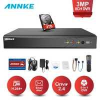 ANNKE DVR 8CH 8 canales 3MP TVI/CVI/AHD/IP/CVBS 5 en 1 DVR NVR grabador de vídeo Digital Sistema de seguridad CCTV vigilancia