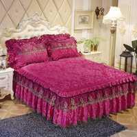 De la cama faldas princesa colcha cubierta de colchón 1/3 piezas de terciopelo grueso cálido ropa de cama hoja de cama fundas de almohada de Color sólido cubierta de cama