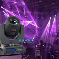 Envío libre móvil de la viga 7R 230 W 20chs DMX escenario giratorio DJ Disko Iluminación punto cabezas móviles haz sharpy 230 luz estroboscópica